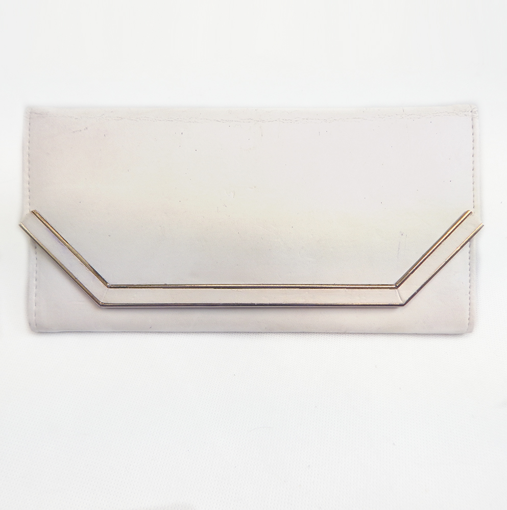 Original 1980s Vintage White Leather Clutch Bag