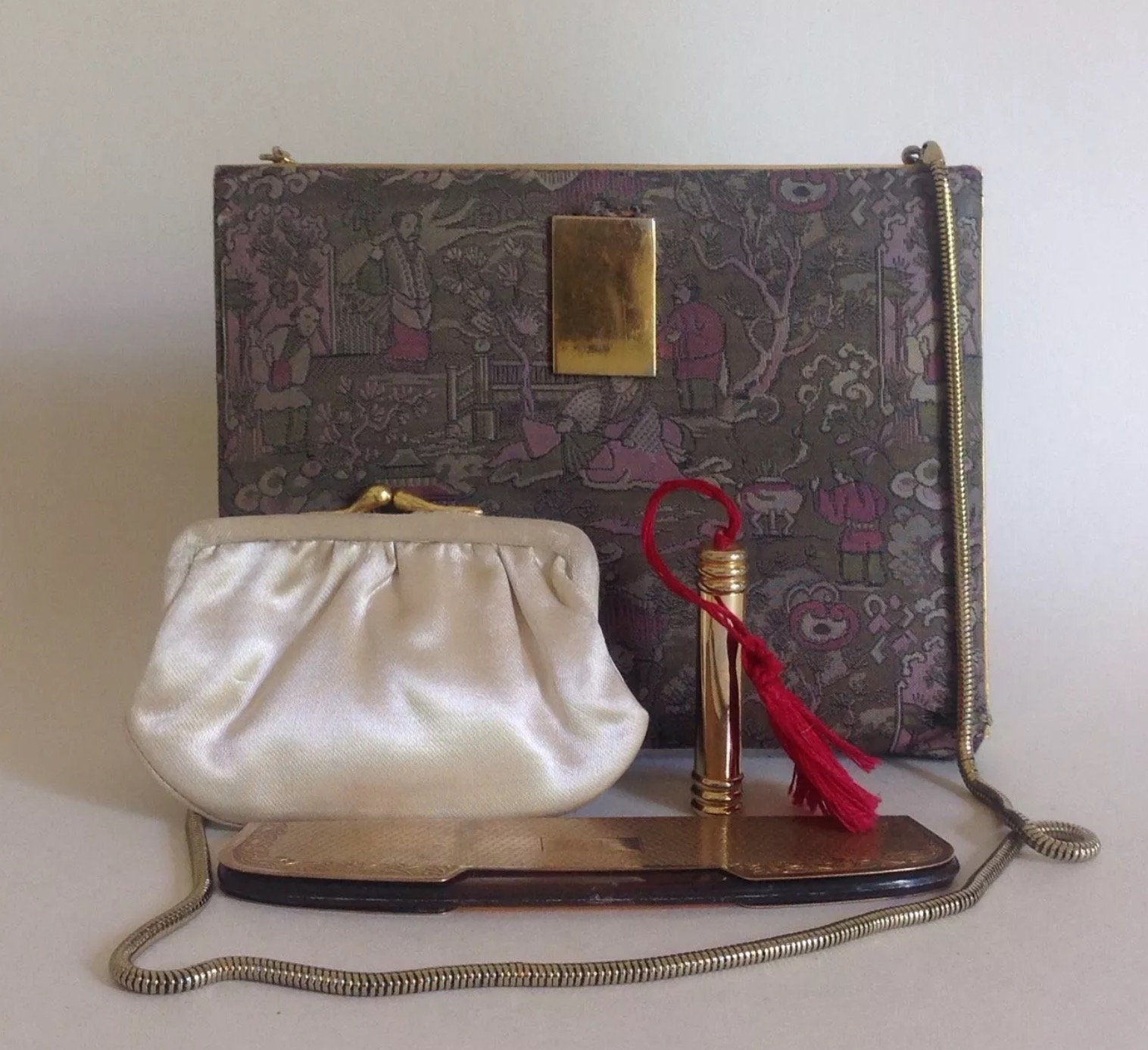 1950s French Silk Vanity Vintage Handbag