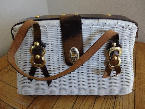 Vintage White Rattan Handbag