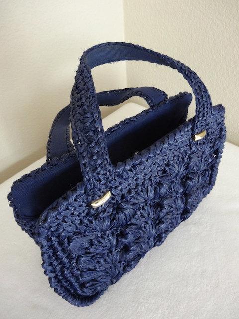 Vintage Navy Blue Raffia Handbag