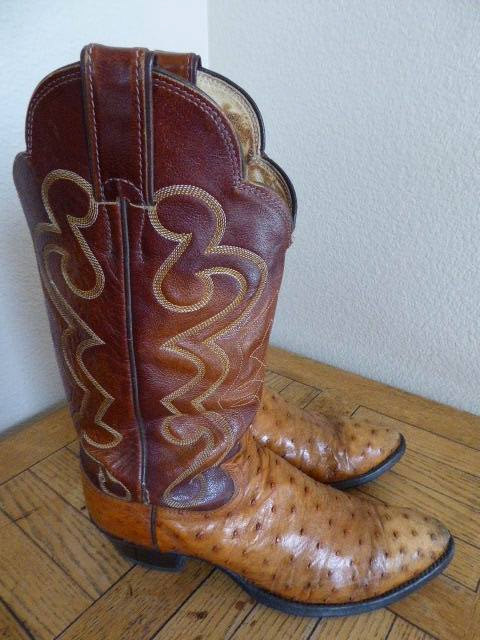 LOVELY Vintage 'Justin' Ostrichskin/LeatherCowboy Boots