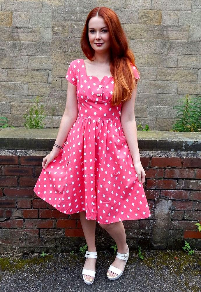 Original 1950s Vintage Pink Diamond Print Swing Dress